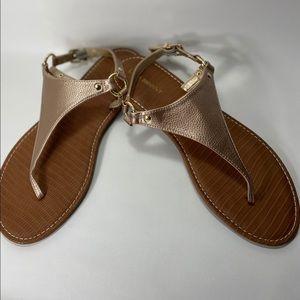 Lane Bryant Rose gold metallic thong sandals 11W